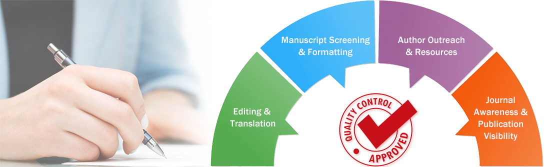 editing & translation, manuscript screening & formatting, author outreach & resources, Journal awareness & publication visibility